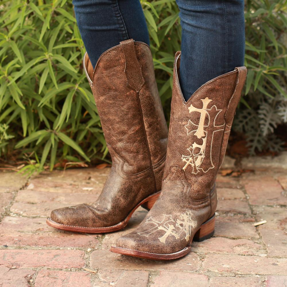 3c5ebd2b869 Circle G Womens Cross Embroidered Square Toe Boots