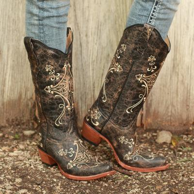 Circle G Women's Craquel Cowhide Cowgirl Boot