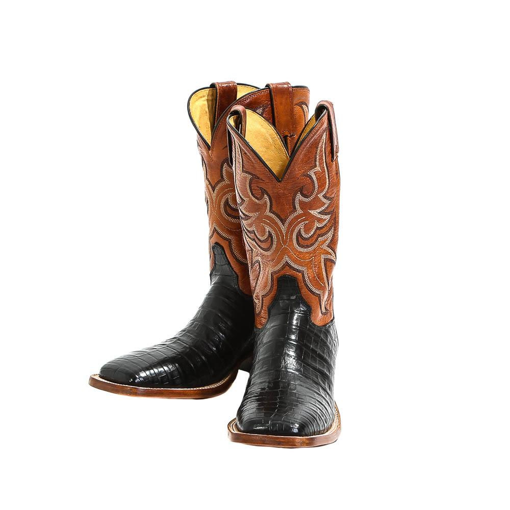 75091bd6784 Justin Mens Black Caiman Cowboy Boots