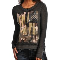 Rock & Roll Cowgirl Long Sleeve Sequin Knit Shirt