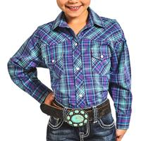 Rock & Roll Cowgirl Girl's Purple and Turquoise Western Snap Shirt