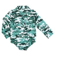 Wrangler Boys' Long Sleeve Bodysuit in Green Camo