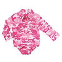 Wrangler Girls' Long Sleeve Bodysuit in Pink Camo
