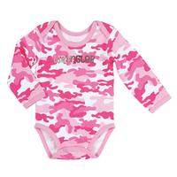 Wrangler Girls' Long Sleeve Bodysuit in Printed Pink Camo