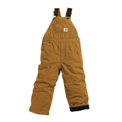 Carhartt Boys Duck Lined Bib Overall in Sizes 8-16 BRN
