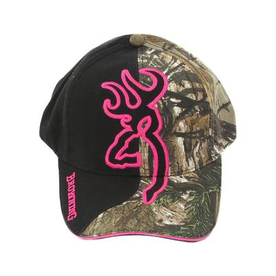 Browning Women's Big Buckmark in Black and Camo Cap 771RTX