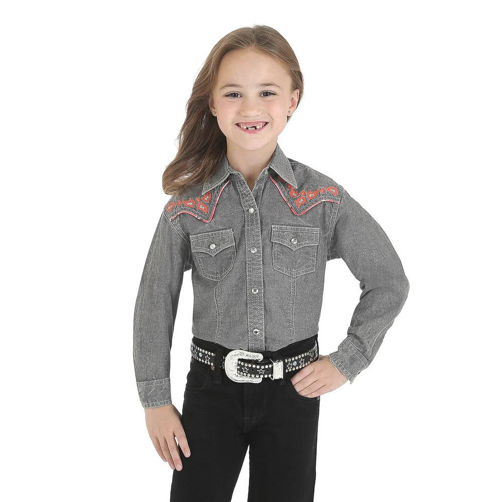 Wrangler Girls Gray And Coral Western Snap Shirt