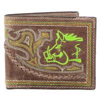 Sniper Pig Leather Bi-fold Wallet in Neon Green