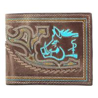 Sniper Pig Leather Bi-fold Wallet in Turquoise