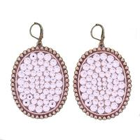 Pink Panache Bronze Earrings With Clear Stones