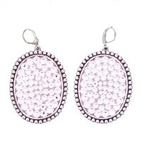 Pink Panache Silver Earrings With Clear Stones