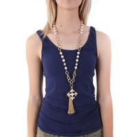 Gold Tassel with Cross Necklace