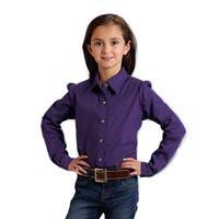 Roper Girl's Solid Poplin Snap Shirt