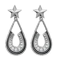 Montana Silversmiths's Silver and Black Horseshoe Earrings