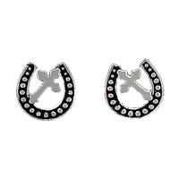 Montana Silversmiths's Cross Horseshoe Post Earrings
