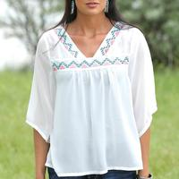 Cruel Girl Ladies Peasant Top with Embroidery