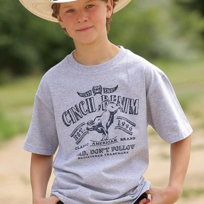 Cinch Boys Heathered Gray Short Sleeve Jersey Tee