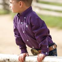 Cinch Infant Boys Purple and Navy Print Long Sleeve Shirt