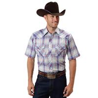 Roper Men's Blue and White Snap Shirt