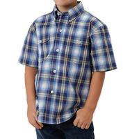 Roper Boys Short Sleeve Amarillo Yarn-Dyed Blue Plaid Shirt
