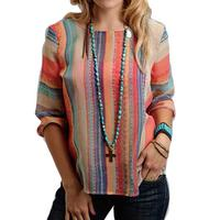 Stetson Ladies Aztec Stripe Chiffon Peasant Top