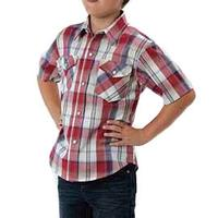 Roper Boys Short Sleeve Amarillo Red Plaid Snap Shirt
