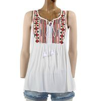 POL Ladies Front Ruche Embroidered Top