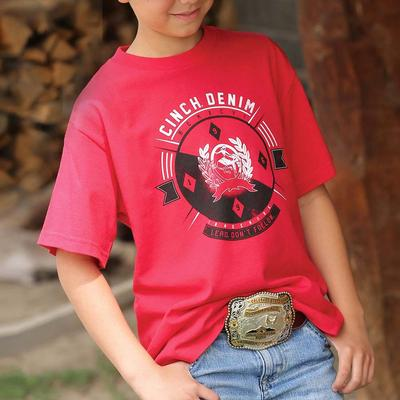 Cinch Boy's Red Print T- Shirt
