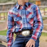 Cinch Boy's Red and Blue Snap Shirt