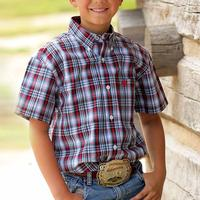 Cinch Boy's Red and Blue Plaid Shirt