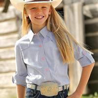Cruel Girl Girl's Navy Pinstripe Snap Shirt