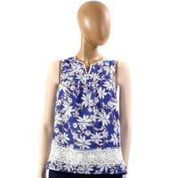 Jade Women's Lace Band Flower Print Top