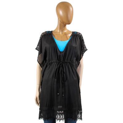Angie Women's Short Sleeve Lace Trim Kaftan