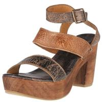 Bedstu Women's Sophie Teak and Black Weathered Leather Sandals