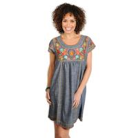 Uncle Frank Women's Embroidered Chambray Dress