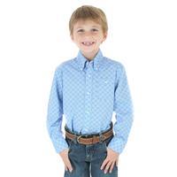 Wrangler Boy's George Strait Blue Print Shirt