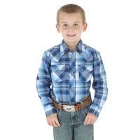 Wrangler Boy's Western Plaid Long Sleeve Shirt