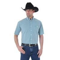 Wrangler Men's George Strait Turquoise and White Shirt