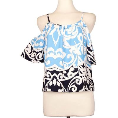 Ace Trading Women's Print Cold Shoulder Top BLU/BLK/WHT