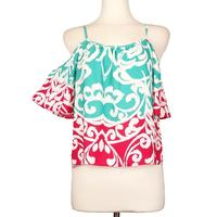 Ace Trading Women's Print Cold Shoulder Top