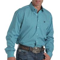 Cinch Men's Teal Geometric Print Shirt