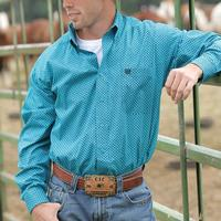 Cinch Men's Teal and Navy Print Shirt