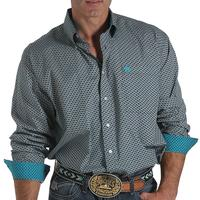 Cinch Men's Navy, White, and Teal Print Shirt