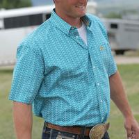 Cinch Men's Short Sleeve Teal Lattice Shirt