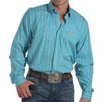Cinch Men's Long Sleeve Teal Lattice Shirt