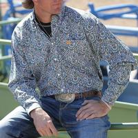 Cinch Men's White and Teal Paisley Shirt