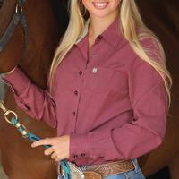 Cinch Women's Long Sleeve Burgundy Shirt