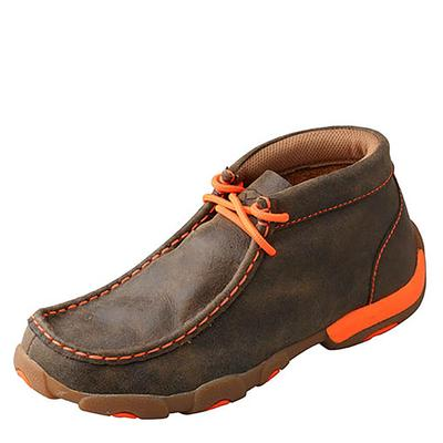 Twisted X Youth Driving Moc Orange and Bomber Brown Shoes