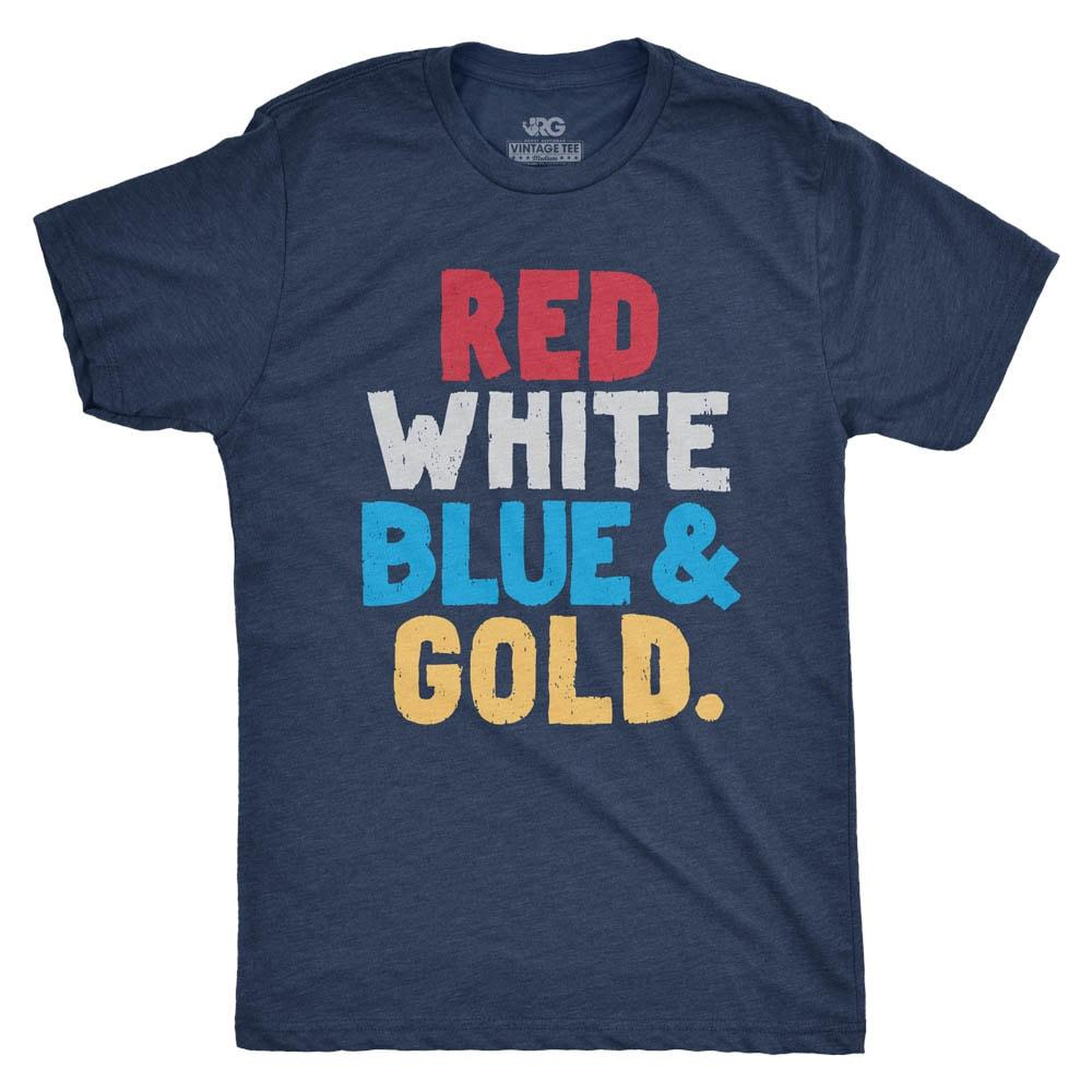 Rowdy Gentleman Men S Red White Blue And Gold T Shirt