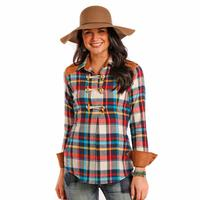 Rock and Roll Cowgirl Women's Plaid Twill Top